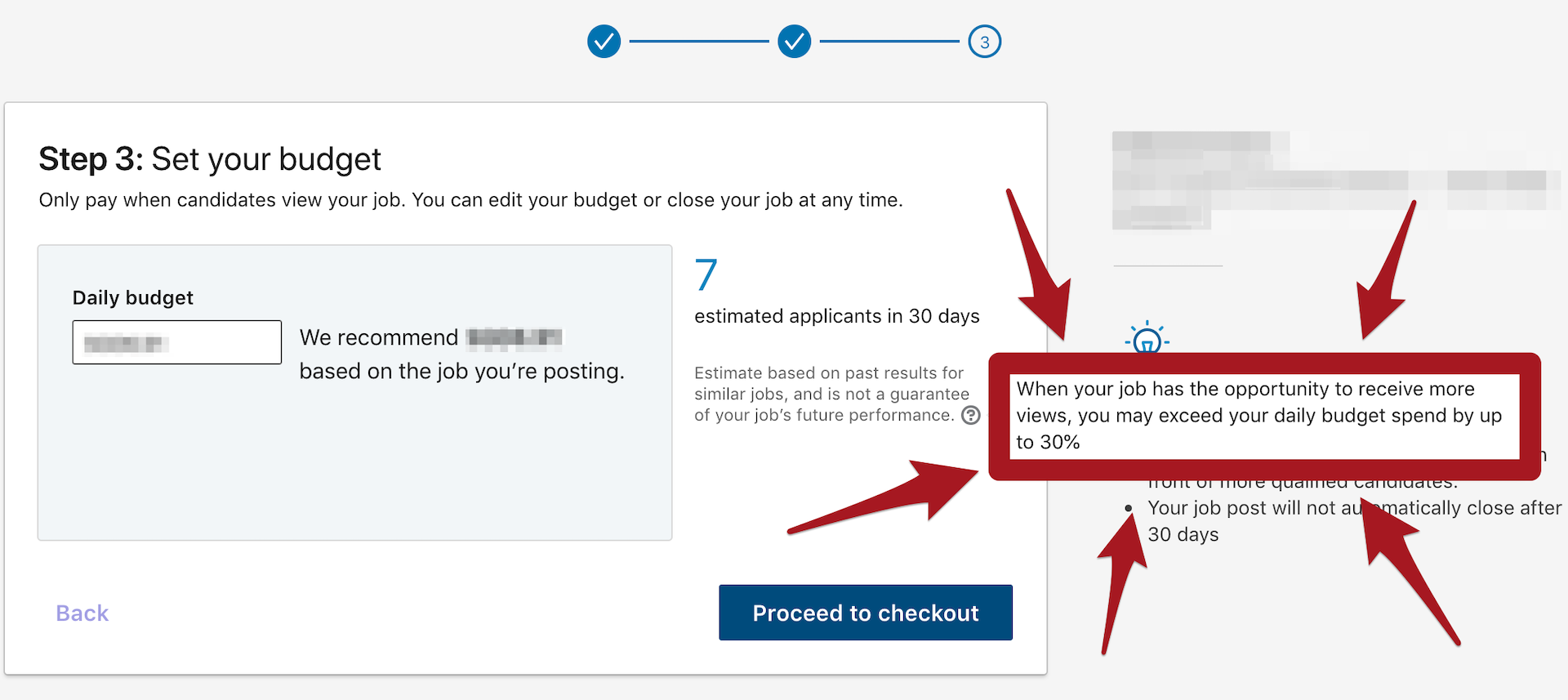 LinkedIn job listing fine print