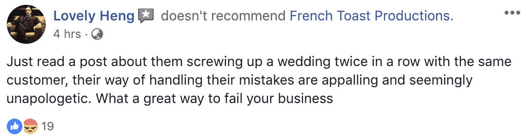french toast productions wedding photos videos lost photographer review