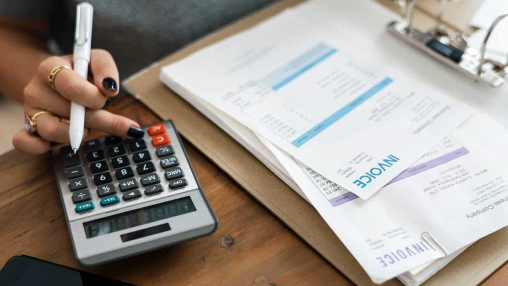 accountant calculator invoice
