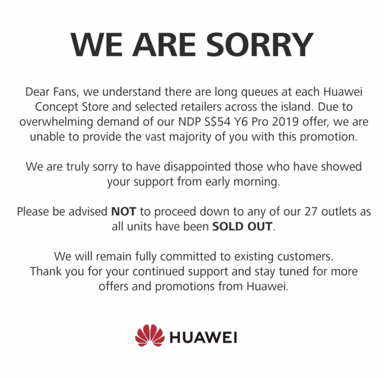 Huawei's apology on Facebook