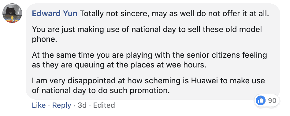 Facebook comment frustrations with Huawei