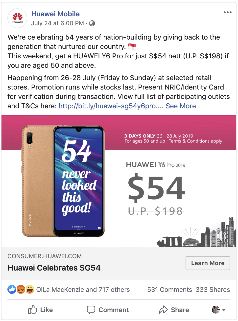 Huawei $54 Promo