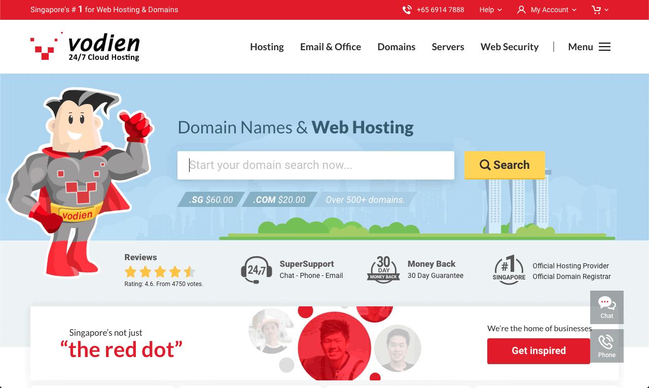 Vodien homepage