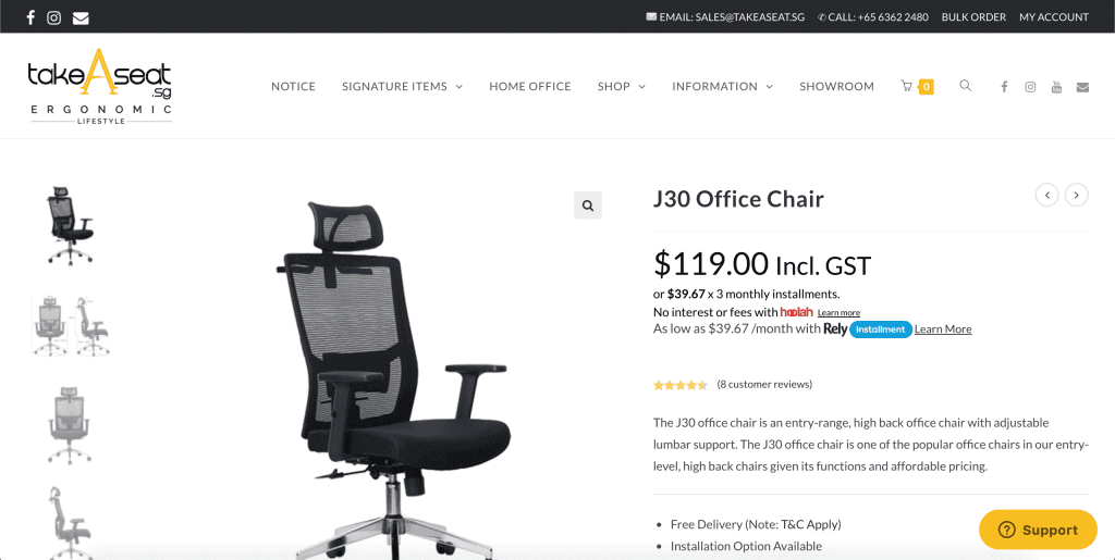 best office chairs in singapore_takeaseat J30 office chair