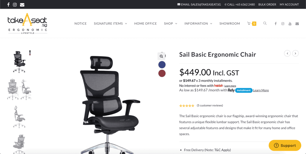 best office chairs in singapore_takeaseat sail basic ergonomic chair