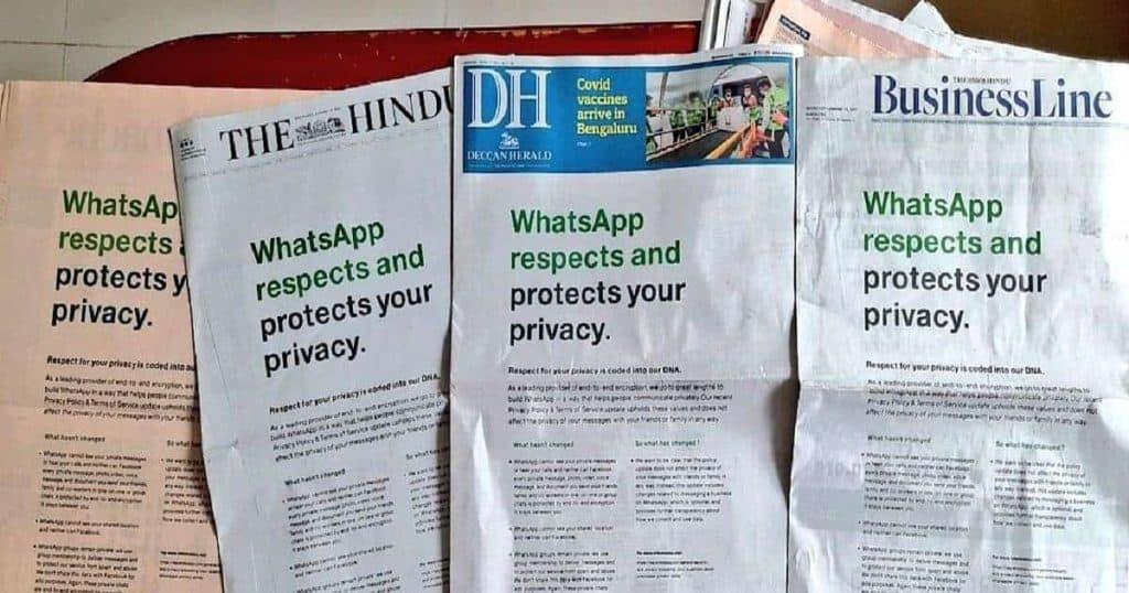 whatsapp india newspaper