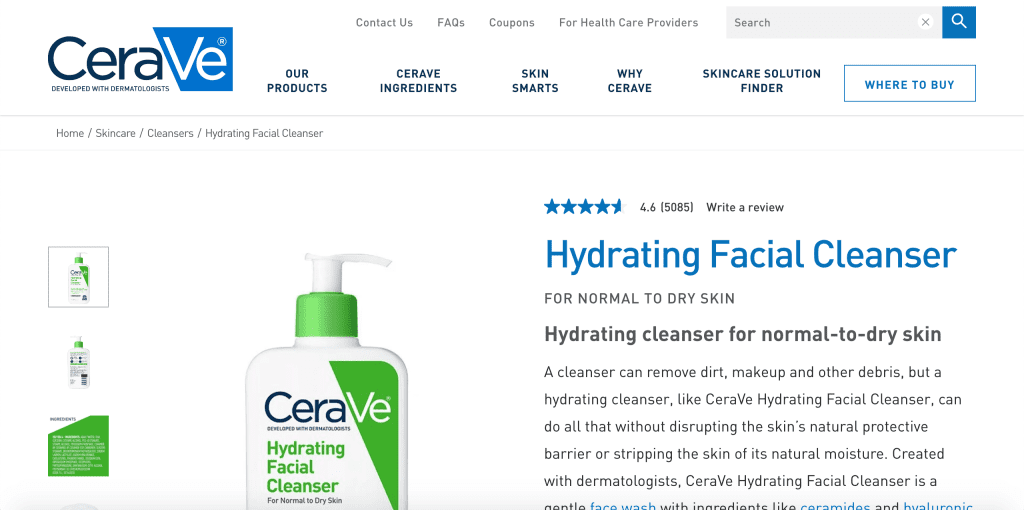 best facial wash in singapore_cerave hydrating facial cleanser