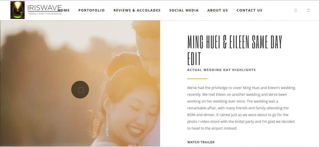 best wedding videography in singapore_iriswave