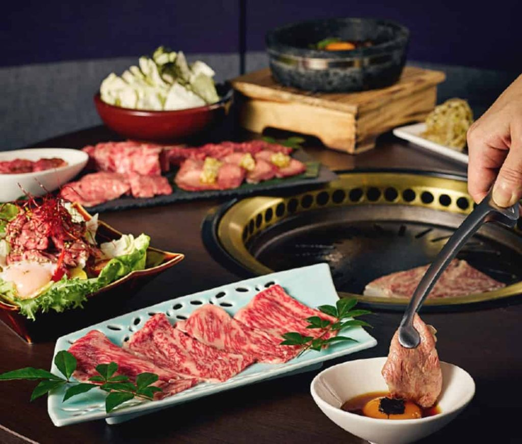 selection of rare cuts of premium beef at the gyu bar