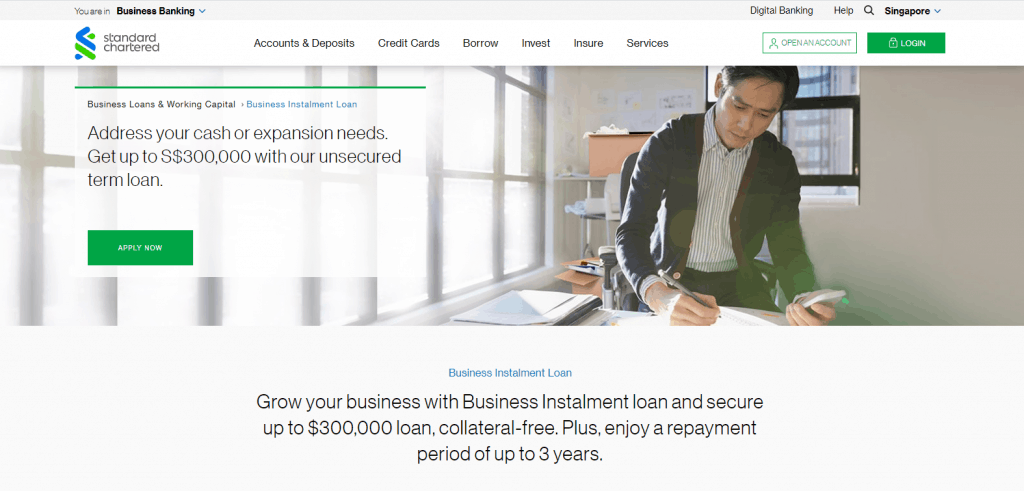 StanChart business loan in Singapore