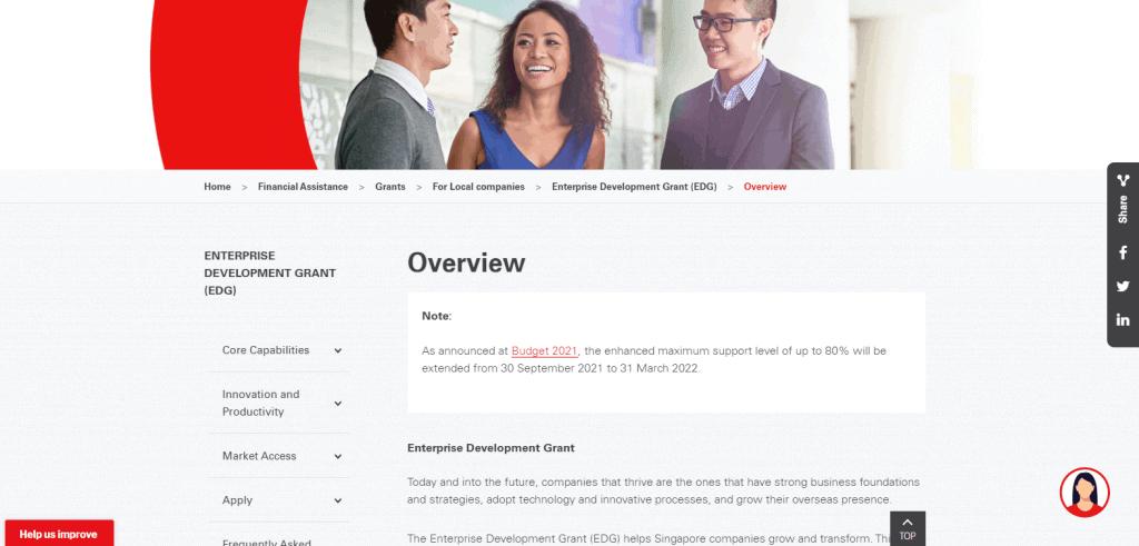 Enterprise Development Grant business grant in Singapore