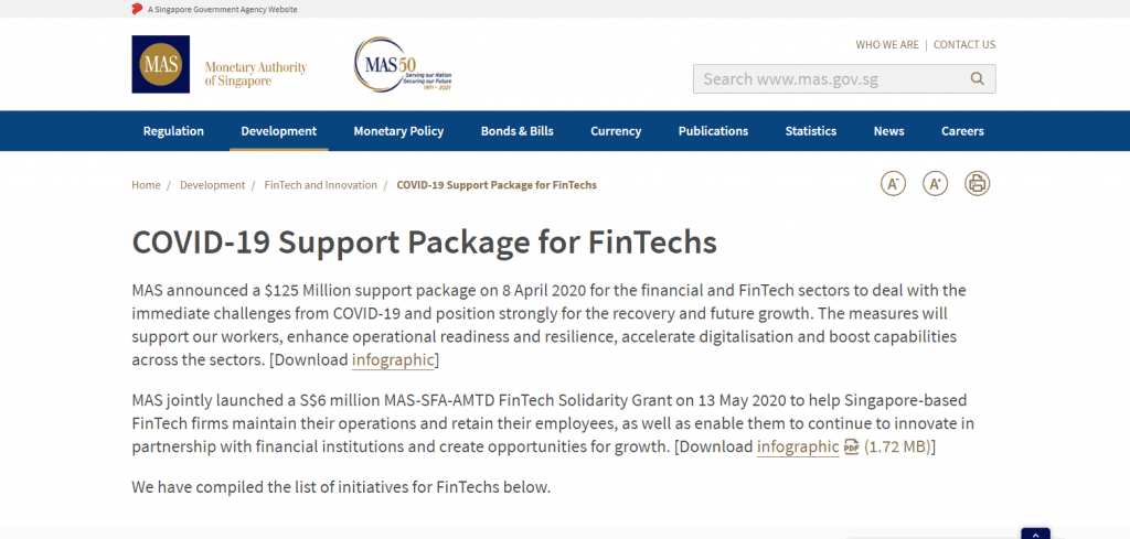 Fintech-Support business grant in singapore