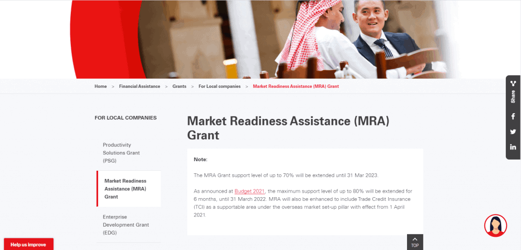 MRA business grant in singapore