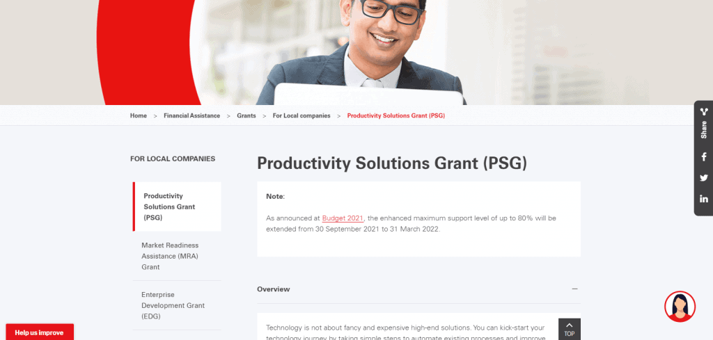 PSG business grant in Singapore