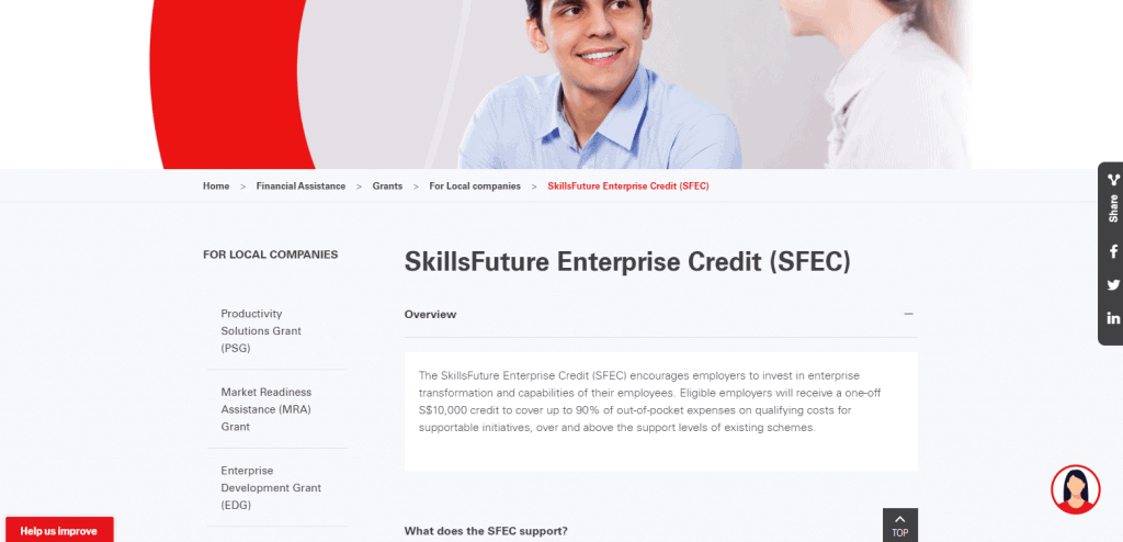 SFEC business grant in singapore