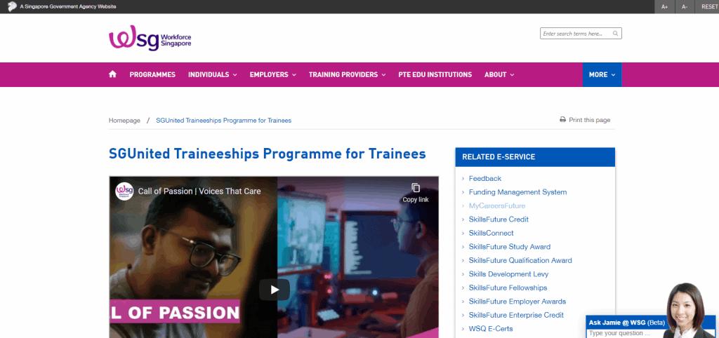 SGUnited-Traineeship business grant in singapore
