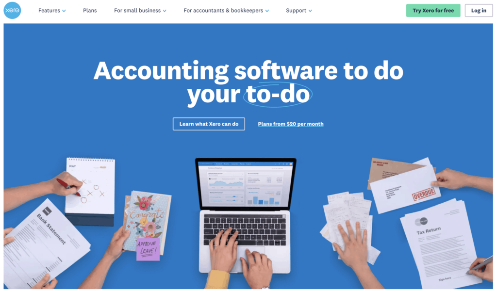 Landing page of Xero website, highlighting the navigation tabs