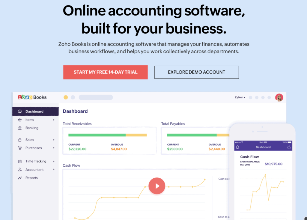 Preview of the user interface of the accounting dashboard