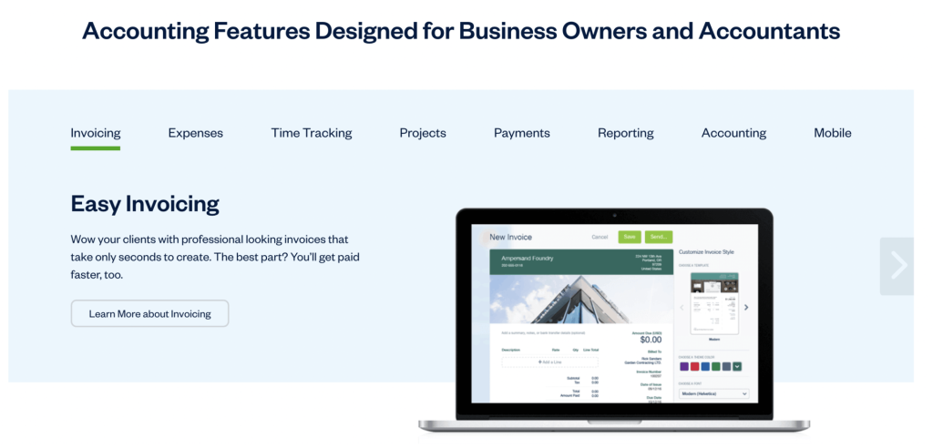 Landing page of Freshbooks Accounting, highlighting the navigation tabs