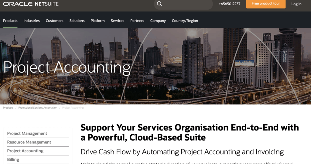 Landing page of Oracle Netsuite Accounting