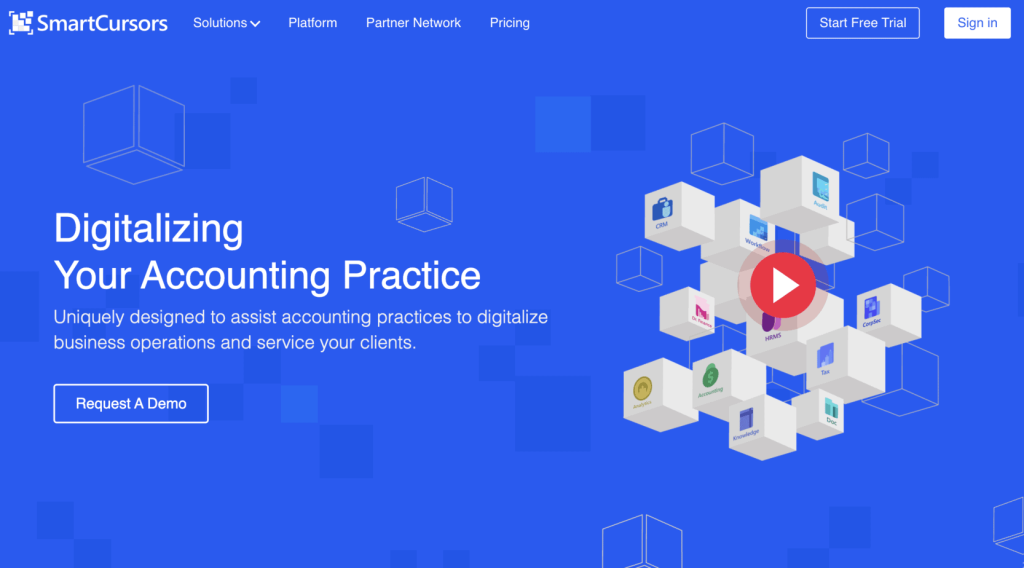 Landing page of smart cursor accounting, with their mission and strategy