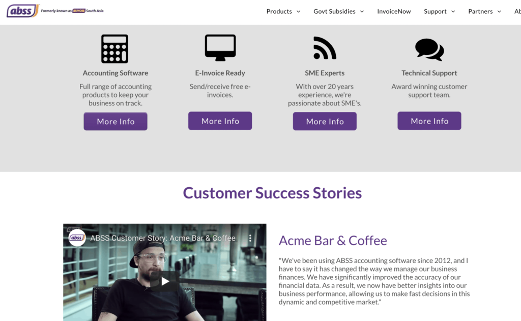 Landing page of ABSS website, highlighting the product features