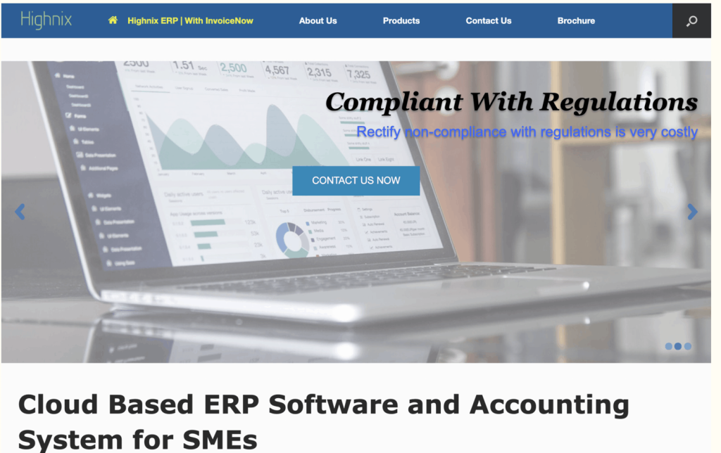 Interface of Highnix Accounting Software landing page