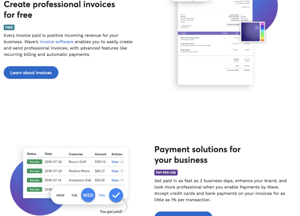 Landing page of Wave Accounting website, highlighting the salient features