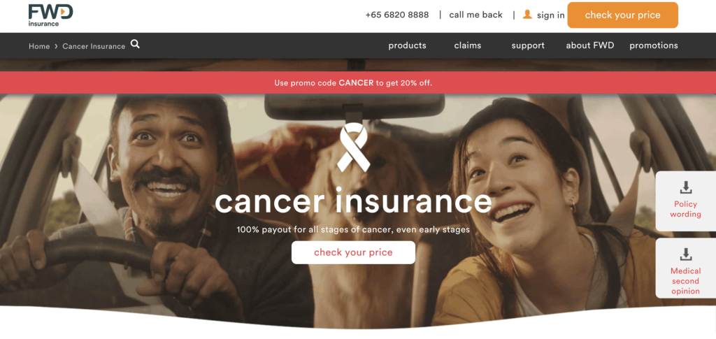 FWD cancer insurance landing page