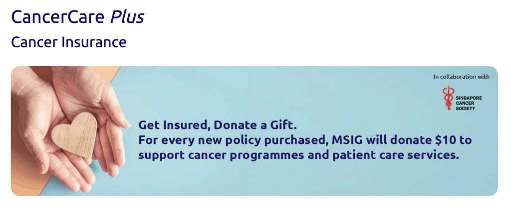 MSIG cancer insurance landing page