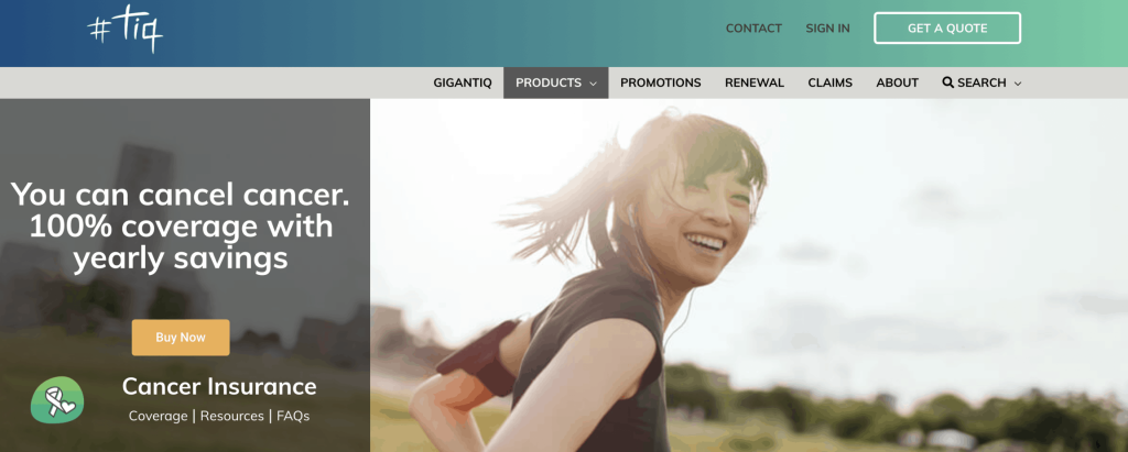 TIQ cancer insurance landing page
