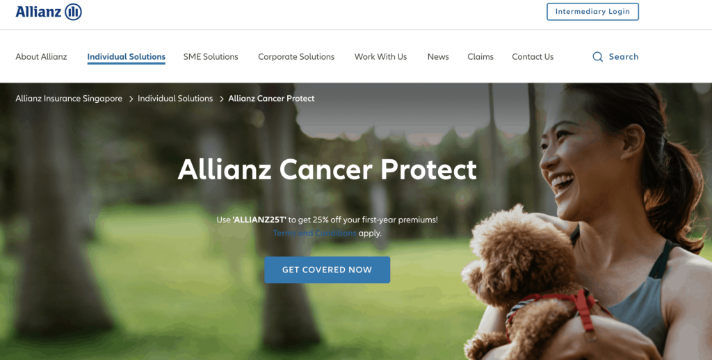 Allianz cancer insurance landing page
