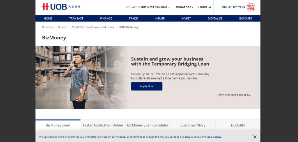 UOB-BizMoney business loan in singapore