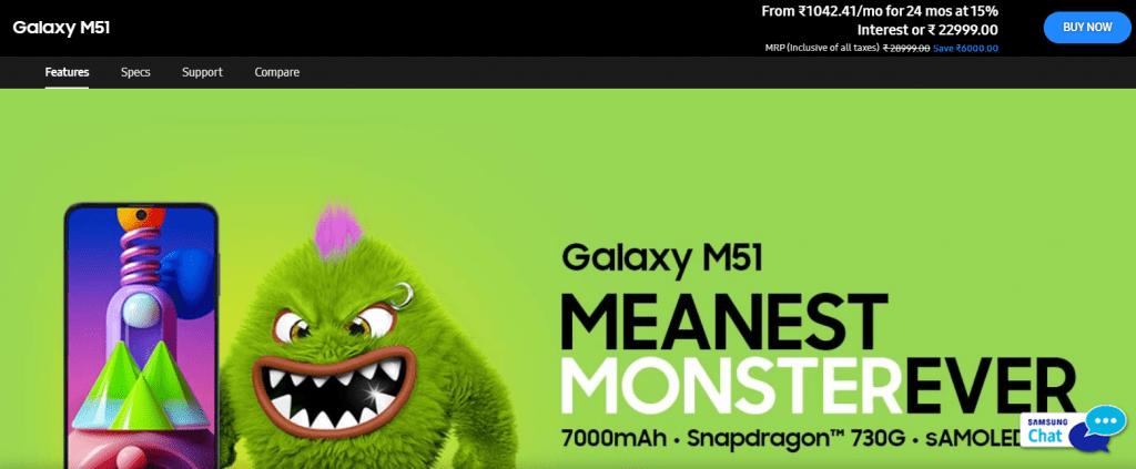 Samsung Galaxy M51 best battery life phone