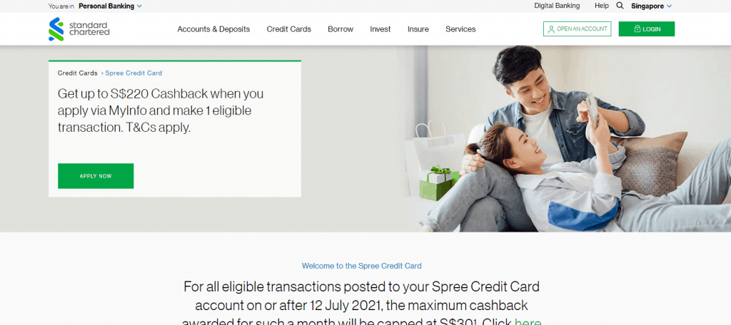 Standard Chartered credit card for fresh graduate in singapore