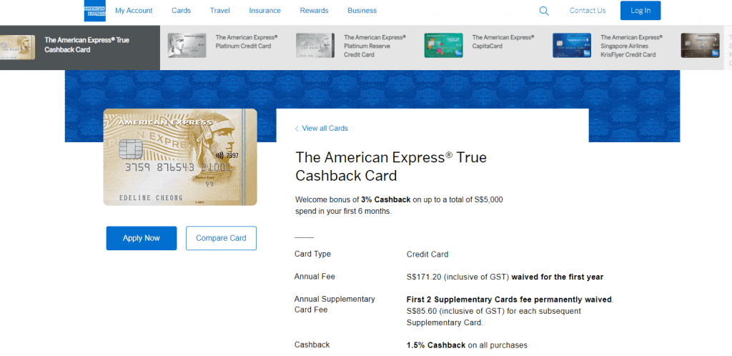 American-Express best cash back credit card in singapore