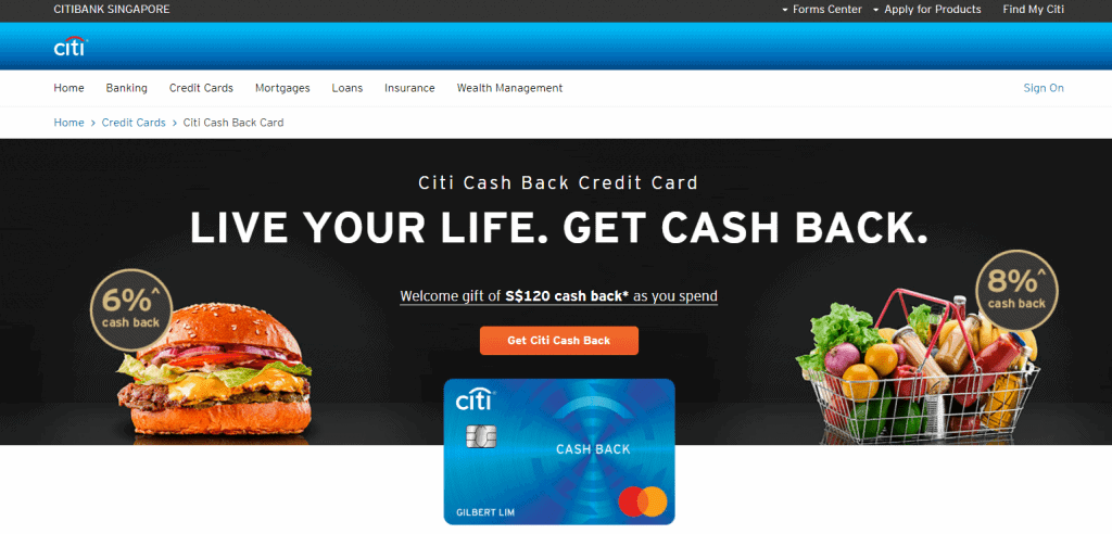 Citibank cash back credit card in singapore