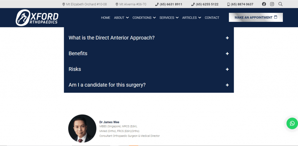 Oxford shoulder specialist in Singapore