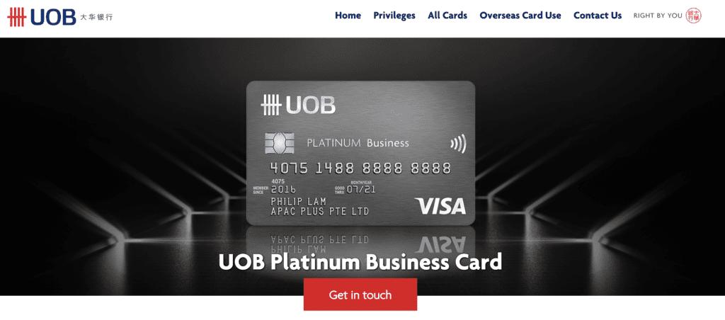 Business Credit Card - UOB Visa Platinum Business Card
