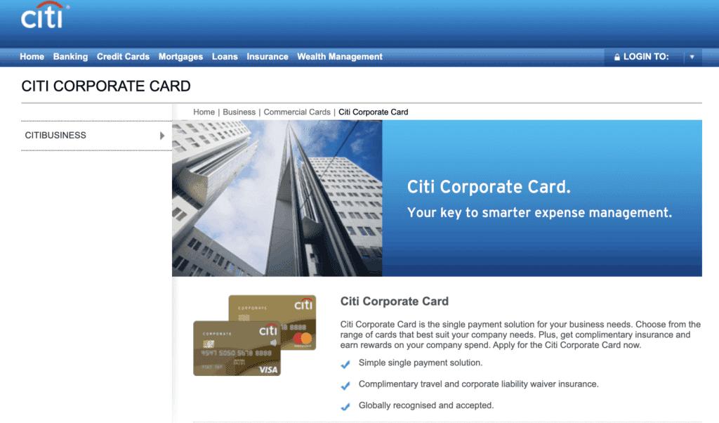 Business Credit Card - Citi Corporate Card