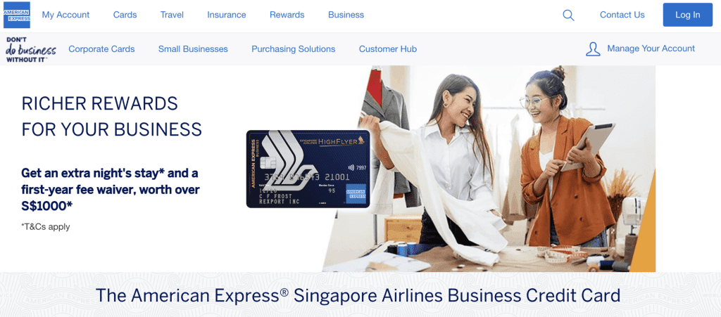 Business Credit Card - AMEX Singapore Airline Card