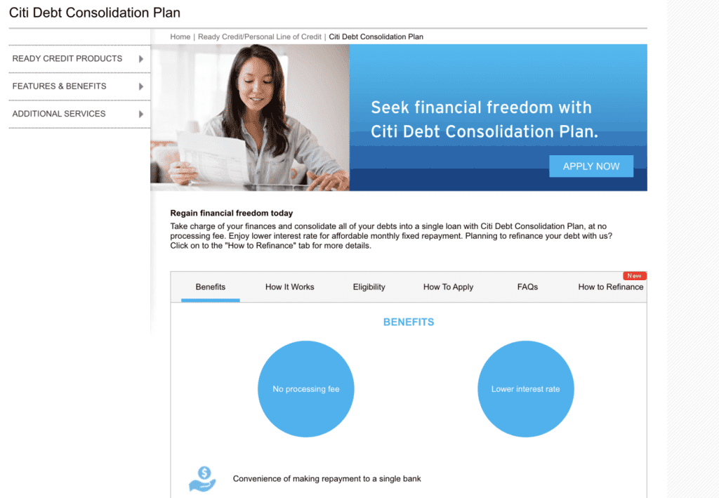 Debt consolidation loan Singapore - Citi Debt Consolidation Plan