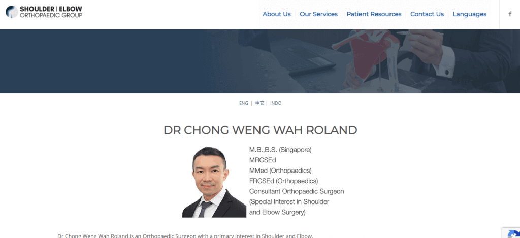 Shoulder   Elbow Orthopaedic Group shoulder specialist in singapore