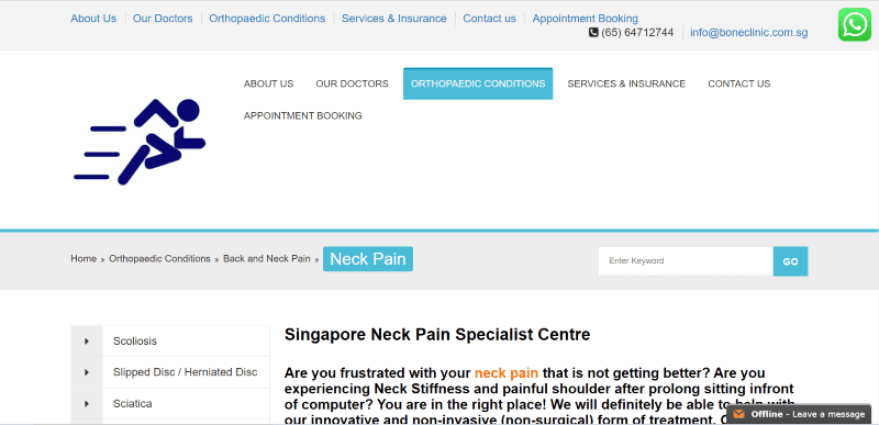 best neck pain specialist in singapore