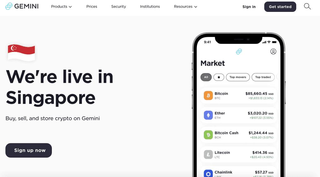 Crypto exchange in Singapore - Gemini