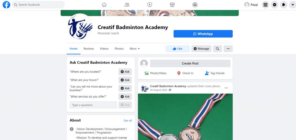 Creatif badminton lessons singapore
